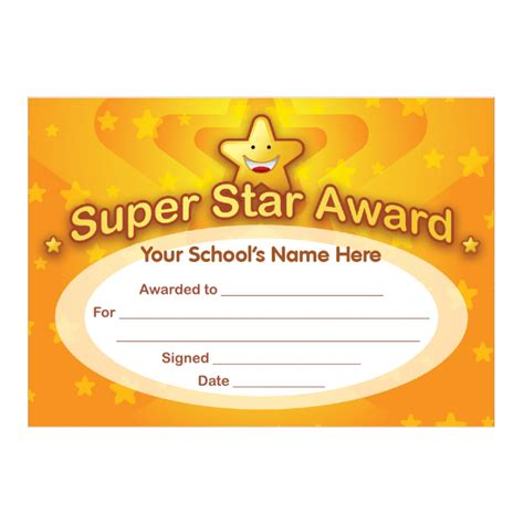 printable star awards super star award certificates stickers for teachers