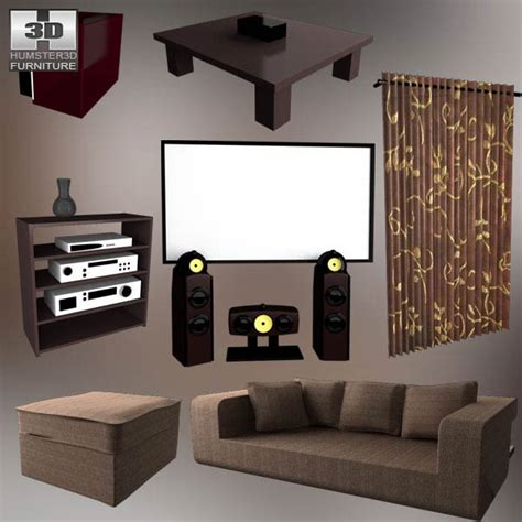 Home Theater Set home theater set 05 3d model hum3d
