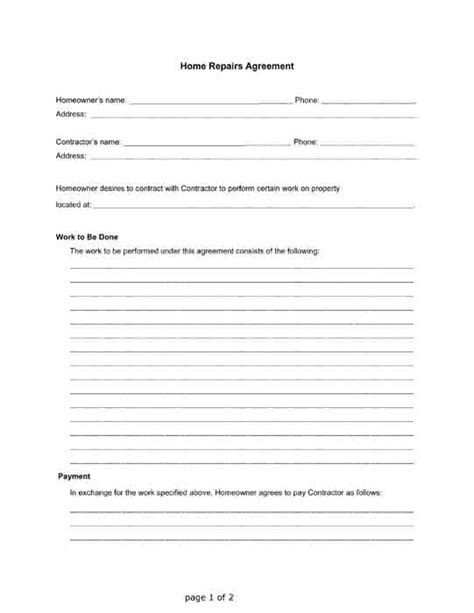 Home Repairs Agreement Between A Homeowner And A Contractor Free Pdf Printable Letter Free Repair Contract Template