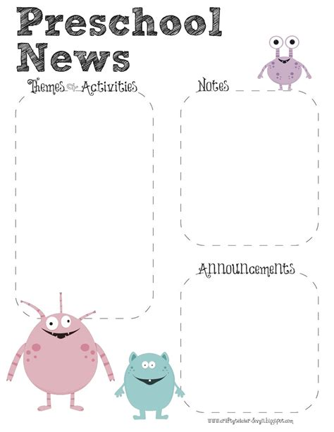 the crafty teacher monster theme preschool newsletter