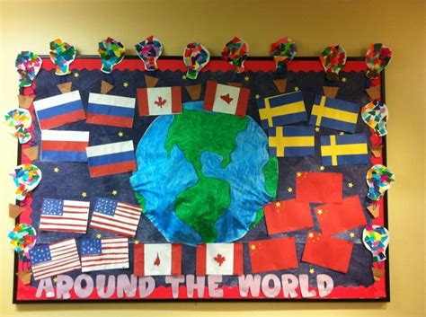 Classroom Door Themes Around The World World Wallpaper by Flags Around The World Bulletin Board Bulletin Boards I