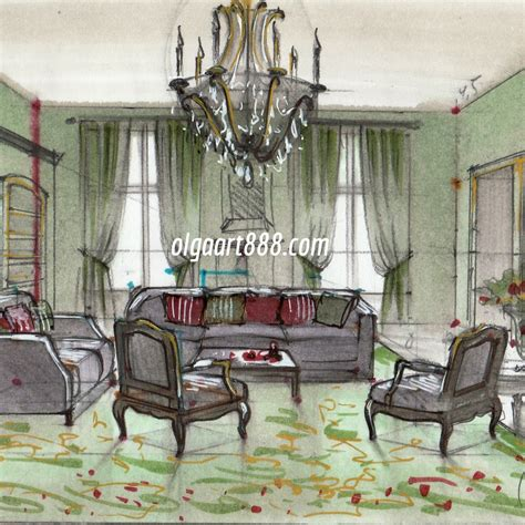 interior design drawing  markers  video courses