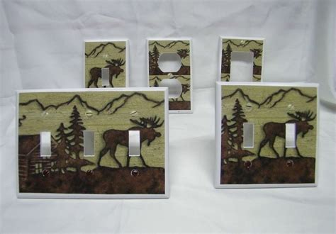 Cabin Decor Outlet by Rustic Moose Silhouette Cabin Decor Design Light Switch