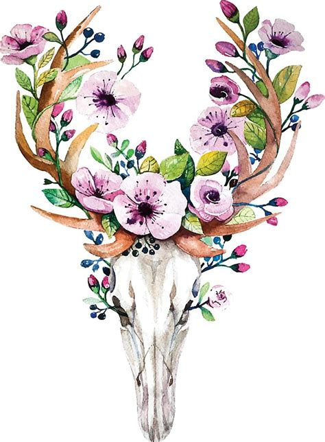 awesome flowery crown u0026 skull quot boho watercolour skull with purple flower crown quot stickers