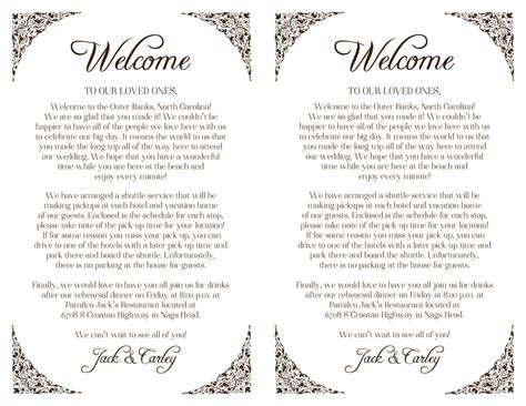 Letter Wedding Custom Wedding Welcome Letter Floral Border Printable Diy