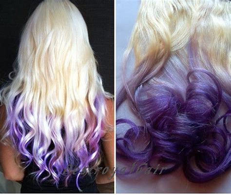 white and blue hair extensions white to purple two colors ombre hair by bestroyalhair