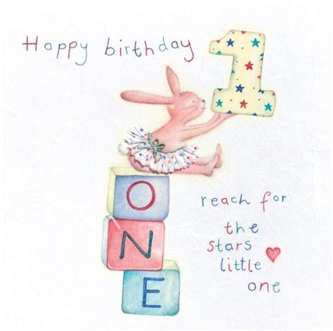 1st BIRTHDAY CARD   GIRL'S Age 1 BUNNY Greeting CARD