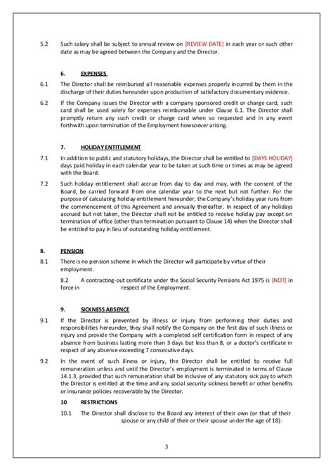 vesting certificate template director service agreement template uk template directors