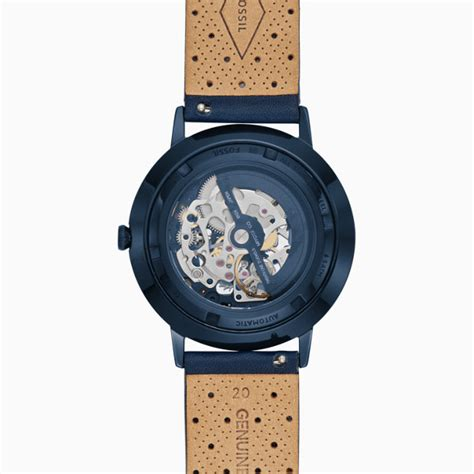Fossil Fs0103 Navy Blue limited edition nightscape automatic three navy blue leather fossil