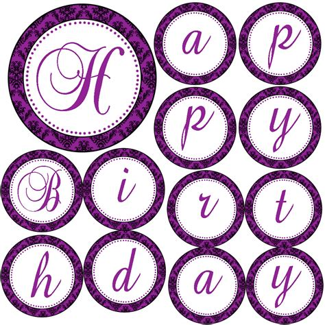 free printable birthday banner purple happy birthday or its a girl printable purple damask