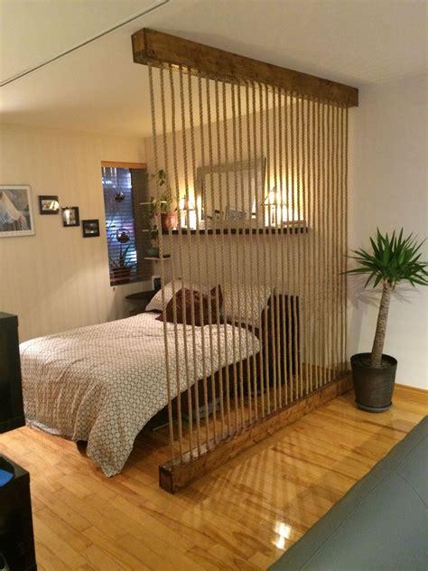 built  rope wall room divider  break   loft style space provide  barrier
