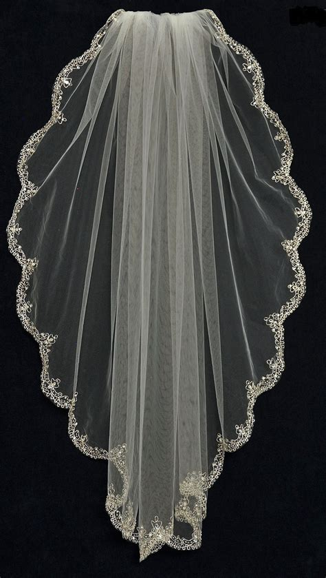 Bridal Veil by Extraordinary Fingertip Length Wedding Veil With Beaded