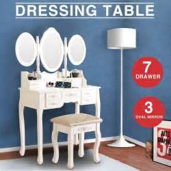 Ribbon Wood Makeup Vanity Set With Mirror Vanity Makeup Dressing Table Set W Stool 7 Drawer Folding