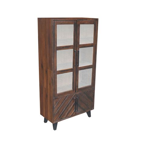 dining armoire avalon dining armoire acacia wood tobacco finish metal