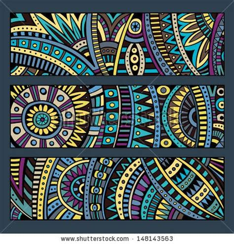 ethno muster abstract vector ethnic pattern cards set by balabolka via