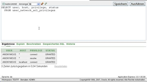 Sho Acl netzwerkzugriffe mit application express und oracle11g