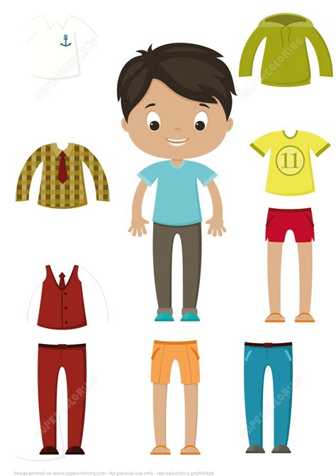 Paper Dolls Craft - cut out boy paper doll clothes set free printable