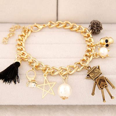 Anting Korea Multielement Hollow Out gold color pearl decorated multi element design alloy korean fashion bracelet asujewelry