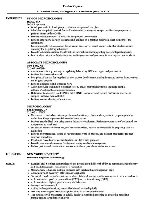bsc microbiology resume sles microbiology resume sles sanitizeuv sle resume and templates