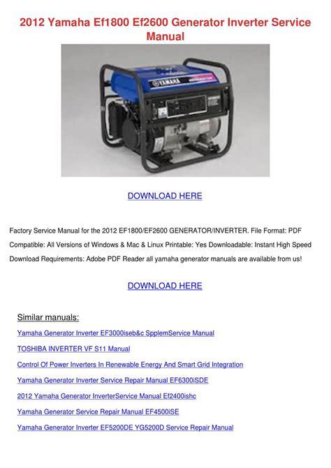 2012 Yamaha Ef1800 Ef2600 Generator Inverter By