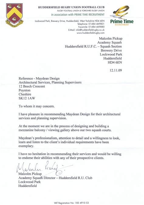 Reference Letter For Uk maydean design architectural services reference letter