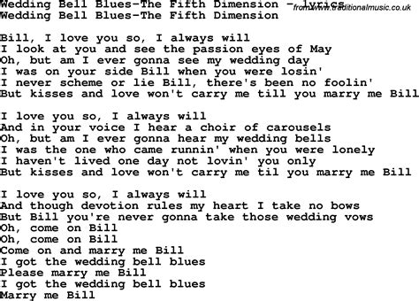 Wedding Bell Blues Chords by And Marriage Song Lyrics