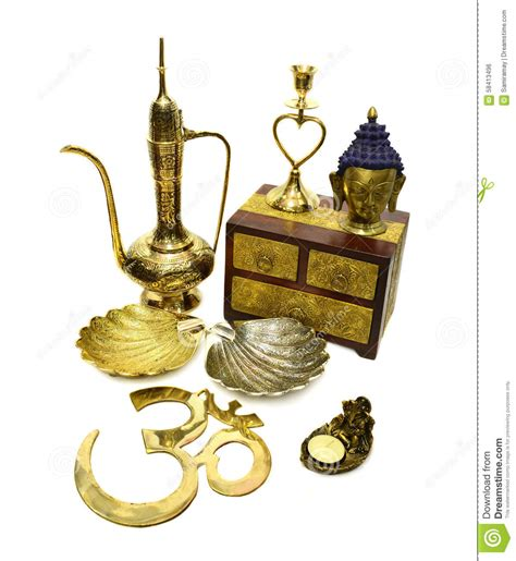 Metal Jug Vase Still Life With Indian Cultural Objects 4 Stock Photo
