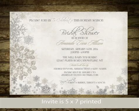 winter themed wedding shower invitations winter bridal shower invitation snowflakes bridal shower invite printable digital silver and