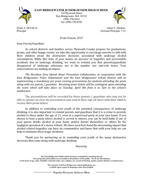 Bridgewater College Letter Of Recommendation Prom Season Letter East Bridgewater Schools
