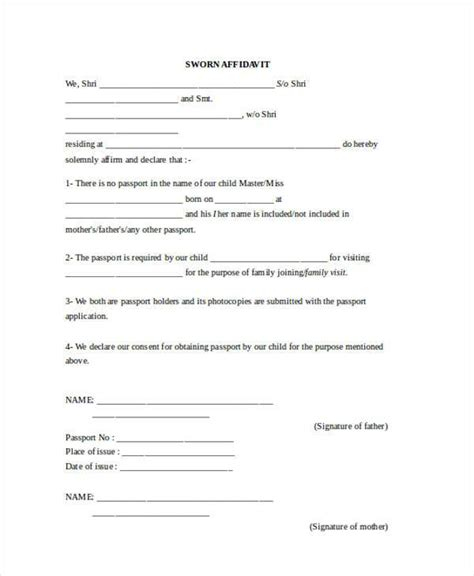 affidavit forms in word