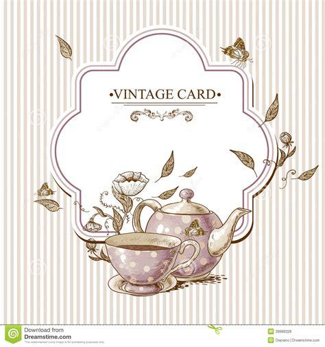 imagenes vintage te tarjeta del vintage de la invitaci 243 n con la taza el pote