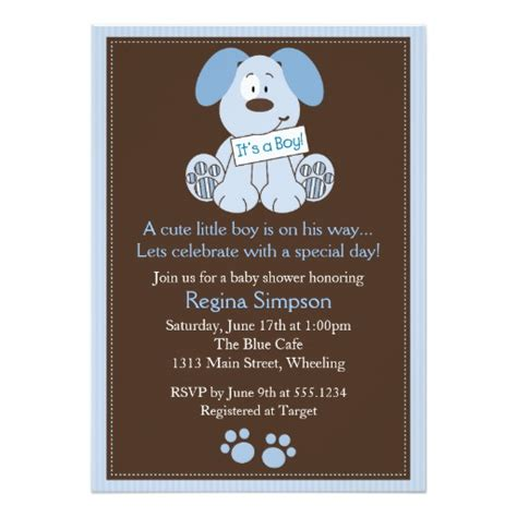 when can you shower a puppy puppy baby shower invitation blue zazzle