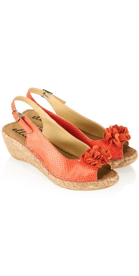 Wedges Ajk21 Wedges Sandal Flower ellie d flower wedge sandal in orange
