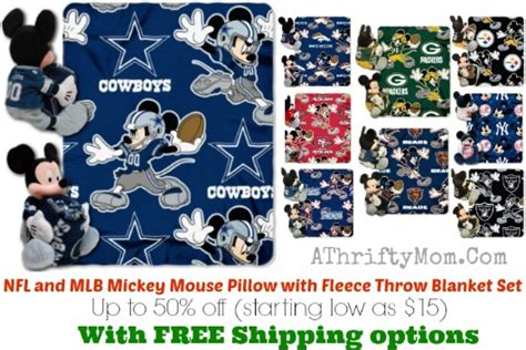 nfl and mlb mickey mouse pillow with fleece throw blanket set 50 free shipping sports fan