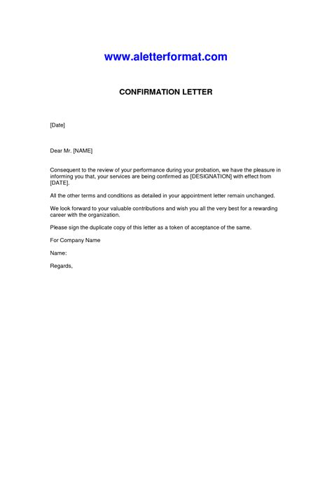 confirmation of appointment letter template best photos of employment confirmation letter employment