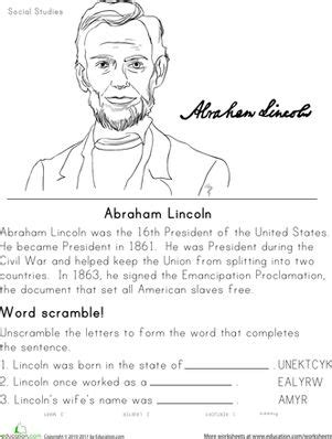history worksheets for second grade historical heroes abraham lincoln learning presidents