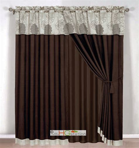 click 4 curtains 4 pc jacquard daisy flower curtain set brown beige taupe