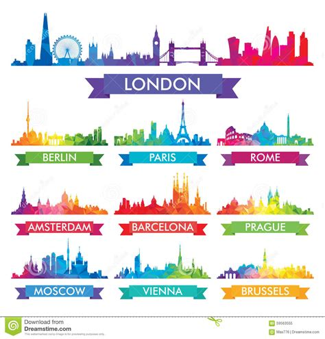 european colors city skyline of europe colorful illustration stock vector