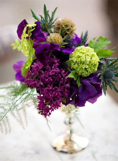 Purple And Green Wedding Flowers Tablescape Centerpiece Purple Flower Arrangements Centerpieces