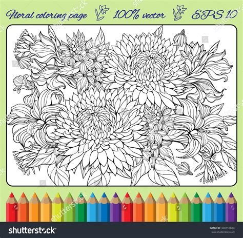 coloring pages of lots of flowers coloring page lots various flowers stock vector 328751684