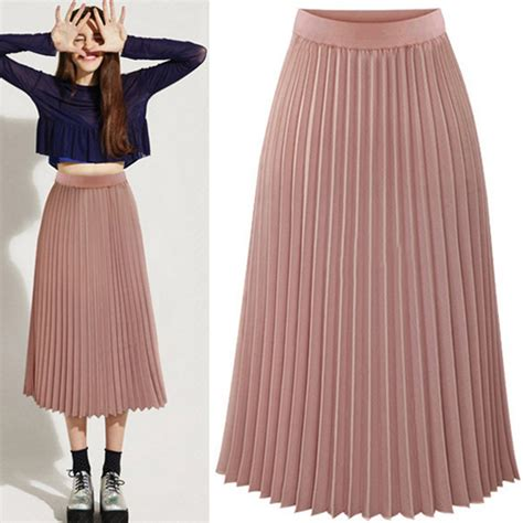 Pleated Midi Skirt Rok Murah Promo layer chiffon pleated dress elastic waist maxi dress skirt ebay