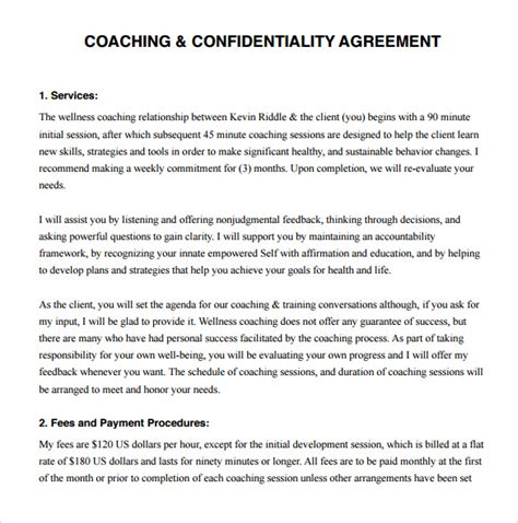 coaching contracts templates 13 coaching contract templates to for free