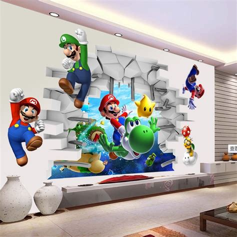 Super mario 3d kids nursery removable wall decal vinyl stickers art home decor ebay