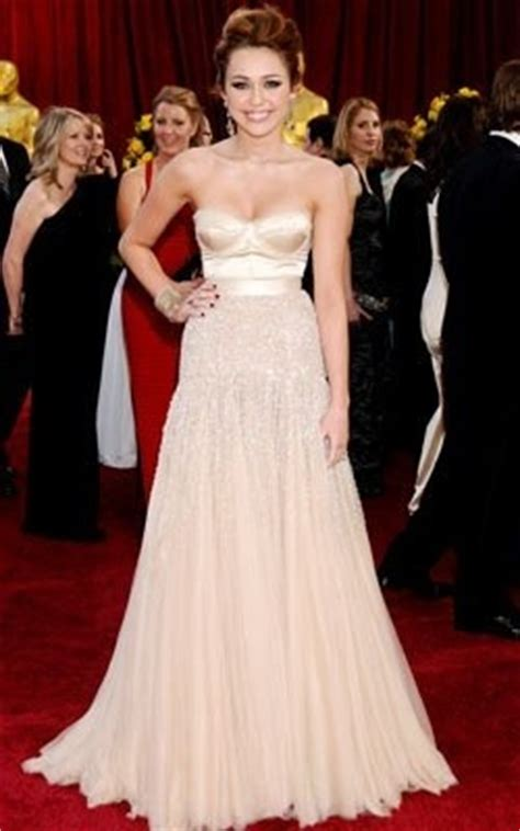 Oscars Carpet Miley Cyrus by Miley Cyrus Chagne Formal Dress 82nd Oscar Awards