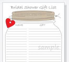 bridal shower gift record template bridal shower gift list printable diy jar design with
