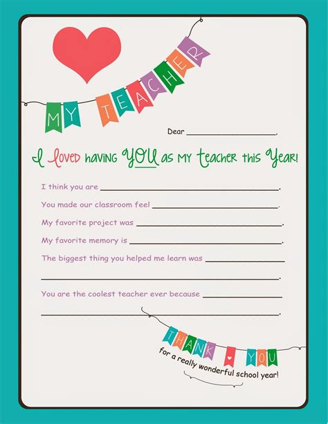 free printable thank you cards for preschool teachers savvy spending free end of the year teacher printable for