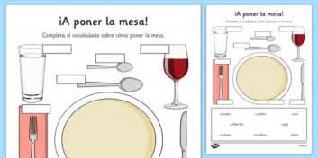 table la mesa ficha a poner la mesa vocabulario setting the table