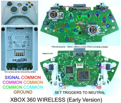 Xbox 360 wireless controller wiring diagram webnotex joystick controller pcb and wiring ccuart Gallery