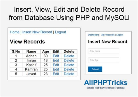 Removing Records From Insert View Edit And Delete Record From Database Using Php And Mysqli All Php Tricks