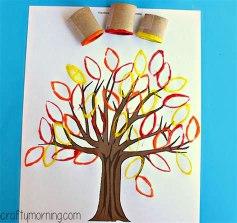 tree crafts for children toilet paper roll leaf sting fall tree craft crafty